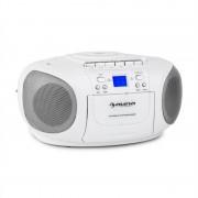 Auna BoomBerry Boom Box, fehér, boombox, hordozható rádió, CD/MP3 lejátszó, kazettás lejátszó (CS15-BoomBerry WH)