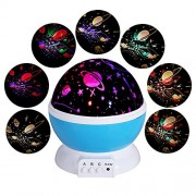Star projector home projector simple planetarium 360 ° turning light beautiful starry sky relaxing time LED light USB battery combined indoor star projector blue with stars full of stars star (Hello Kitty, Doraemon, universe, happy birthday) (Universe)