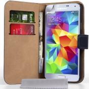 Samsung Galaxy S5 Genuine Leather Wallet Case - Black