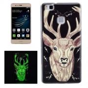 For Huawei P9 Lite Noctilucent Deer Pattern IMD Workmanship Soft TPU Back Cover Case