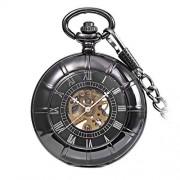 Harilla Estilo Antiguo mecánico Steampunk Mens Hollow Watch Open Case Chain