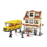City Town School and Bus Lego Compatible Blocks Starter Set by Sluban Bricks
