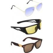 Zyaden Aviator, Wrap-around, Wayfarer Sunglasses(Blue, Yellow, Brown)