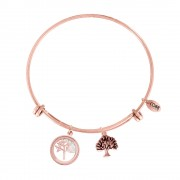 CO88 Armband 'Levensboom' staal/rosékleurig, all-size 8CB-12065