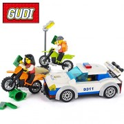 Generic GUDI 9311 City High Speed Police Chase 158pcs Building Blocks Sets Kids DIY Model Bricks Educational Toys for Children