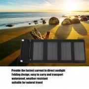 EB Cargador Doblado Portátil Del Panel Solar 7W Salida Del USB 4 Cargador Doblado Para Phone-black
