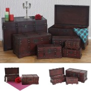 7er Set Holztruhe Holzbox Schatztruhe Valence Antikoptik 10x21x10 bis 49x77x47cm ~ Variantenangebot