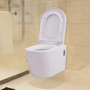 vidaXL Vas toaletă cu montare pe perete, ceramică, alb