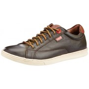 Levis Men's Tulare King Mood Brown Leather Sneakers - 7.5 UK