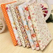 Generic 50X50Cm Orange Series 7 Assorted Cotton Quilt Fabric Flower Dot Printed Fabrics Set