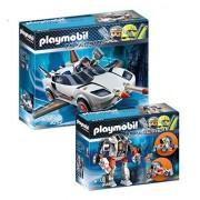 Playmobil Agents Set: 9251 Agent T. E. C. 's Mech & 9252 P. 's Spy Racer