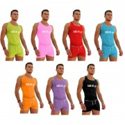 Icker Sea [7 Pack] Logo Trim Kiss My Ass Tank Top T Shirt Assorted Colours COI-14-COLORS-09-ALL