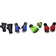 CP Bigbasket Pack of Four (4) Netted with Wrist Support Gym Fitness Gloves (Free Size) Black-blue-Green-red