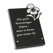 Gedenksteen 16x22cm met Lelie: Alle goede herinneringen blijven...