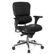 Hjh Silla de oficina LONDON en piel real, regulable 100%, negra
