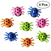 TOYMYTOY Kids Plastic Spiders 4Pcs Bouncing Spider Shake Toys Swing Spiders Toys