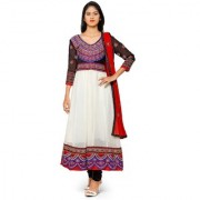 Aaina White Chiffon Embroidered Dress Material (SB-3288) (Unstitched)