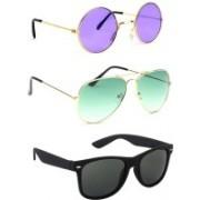 Elligator Round, Aviator, Wayfarer Sunglasses(Violet, Green, Black)