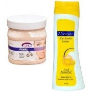Florozone Sun Screen Lotion With SPF 25 Pink Root Pearl Scrub 500ml