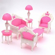 Miniatura Pink Dollhouse Furniture Living Room Parlour Sofa Set For Doll Dollhouse Accessories Toys For Children