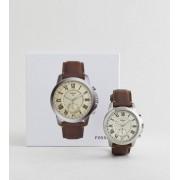Fossil Гибридные смарт-часы с коричневым кожаным ремешком Fossil Q FTW1118 Gr