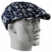 Bernardino Linnen flat cap met print voor heren