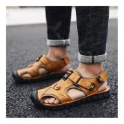 Moda Verano suela antideslizante Slip-on zapatillas zapatos planos de Cuero Hombre Sandalia Oro