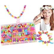 550 pcs DIY Beads Set Girls Toys, Kids Children's Beading DIY Necklace Bracelet Pendant Jewelry Creative Making Kit Glass Bead Pop Snap Accessories Arts Crafts Supplies, Mother's Day Handmade Gift