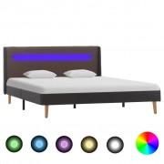 vidaXL szürkésbarna szövetkárpitozású LED-es ágykeret 140 x 200 cm