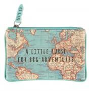 wereld kado - Kleine portemonnee met vintage wereldkaart | Sass & Belle