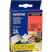 Ламинирана лента Brother TZ Tape 12mm Black on Red, Laminated, 8m lenght, for P-Touch - TZE431