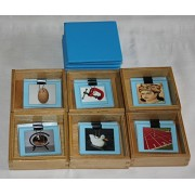 JNANAMUDRA-Montessori-Language-Blue Picture Boxes 1-6((Wooden Box CONTAINING Picture Cards with Vowels Sounds A,E,I,O,U and ONE Mixed Vowel with CORRESPONDING Name Tags)