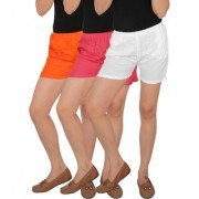 Culture the Dignity Women's Solid Rayon Shorts With Side Pockets Combo of 3 - Orange - Pink - White - C_RSHT_OPW - Pack of 3 - Free Size