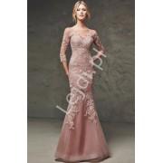 Bajeczna wieczorowa suknia w kolorze pustynnego różu o kroju syrenki Elena