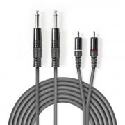 NEDIS Stereo audiokabel 2x 6,35 mm male - 2x RCA male 3,0 m Grijs