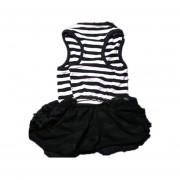 Perrito Falda De La Camiseta Raya-negro