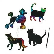 """Magic Color Scratch Cats And Dogs ~ Includes 24 Shapes / 12 Scratching Tools / 24 Satin Cords ~ Approx. 3 1/2"""" 5 1/2"""" ~ New"""