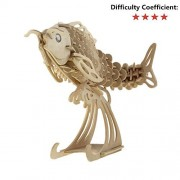Funnylive 3D Wooden Puzzle - Jumping Koi 3D Wood Toys 3D Decoration 3D Assembled Puzzles Toys Family Game Enhanced Relationship