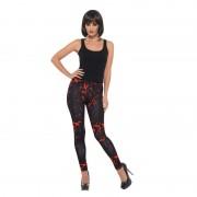 Smiffys Bloederige zwarte stretch legging voor dames