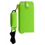 Ultra Slim Synthetic Leather Pouch with Strap for iPhone SE/5s/5 - Apple Leather Slide-in Case (Lime Green)