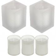 Candles by Spaas 2x Kaarsen wit in kaarsenhouders met 3 navullingen 7 x 10 cm 24 branduren sfeerkaarsen