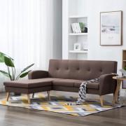 vidaXL Ъглов диван, тапицерия от текстил, 186x136x79 см, кафяв
