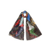 【60%OFF】カシミヤ シルク混 ペイズリー柄 切替 ストール マルチ ファッション > ファッション小物~~スカーフ
