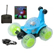 MousePotato 360 degrees Rotating Front Axle Spinning Wheels Stunt Car with Colourful 3D Lights & Music (BLUE)