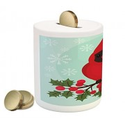 Lunarable Cardinal Piggy Bank, Cartoon Bird Sitting on a Branch of Holly Berry with Snowflake Background, Printed Ceramic Coin Bank Money Box for Cash Saving, Teal Fern Green Red
