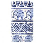 Bolsa em Pele estilo Carteira para iPhone 5, iPhone 5S, iPhone SE - Elefante Tribal