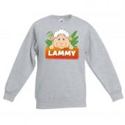 Bellatio Decorations Sweater grijs voor kinderen met Lammy het schaapje