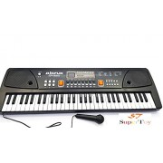 SUPER TOY 61 Keys Piano LED Display Piano Keyboard Toy with Recording,Mic & Mobile Charger Power Option