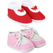 Neska Moda Pack Of 2 Baby Boys And Girls Red And Pink Cotton Booties For 0 To 12 Months