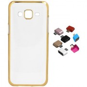 Samsung Galaxy J2 (2016 Model) Transparent and Gold Back Cover with Micro OTG Adaptor 1 Pieces Assorted Color